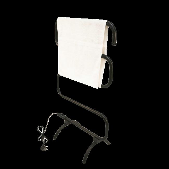 EV-100-S Bathroom Mild Steel Black Painted Freestanding S-type Electric Heated Towel Rail