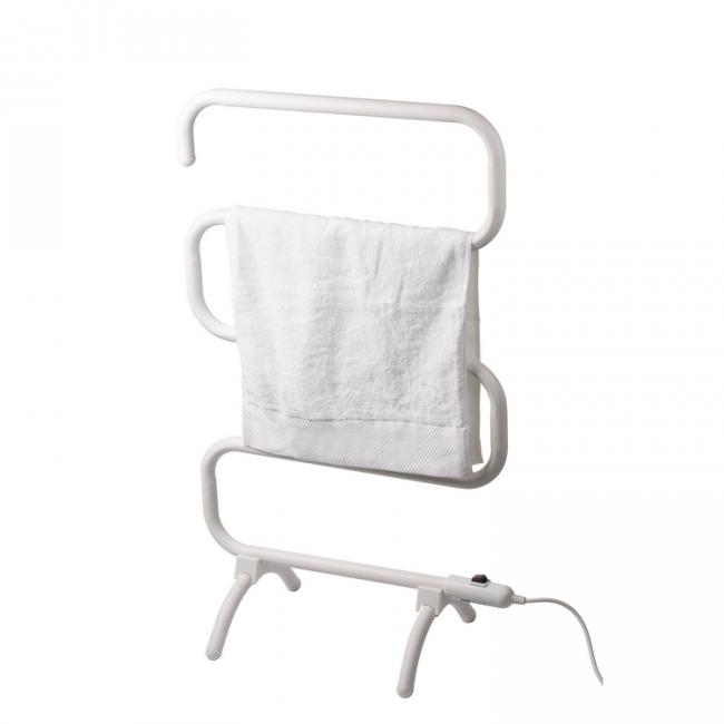 EV-100-S Bathroom Mild Steel White Painted Freestanding S-type Electric Heated Towel Rail