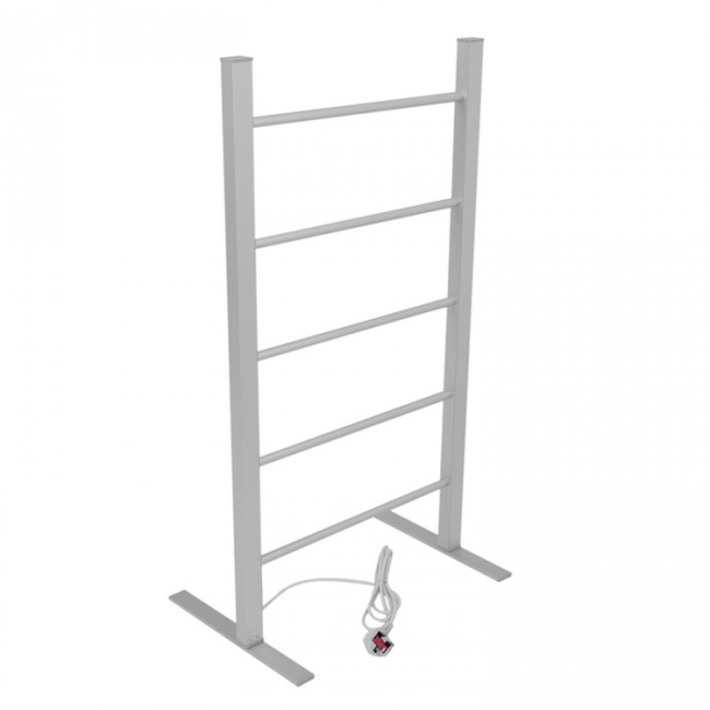 EV-100 Bathroom Ladder Aluminum Silver Towel Warmer Floorstanding Electric Heated Towel Rail