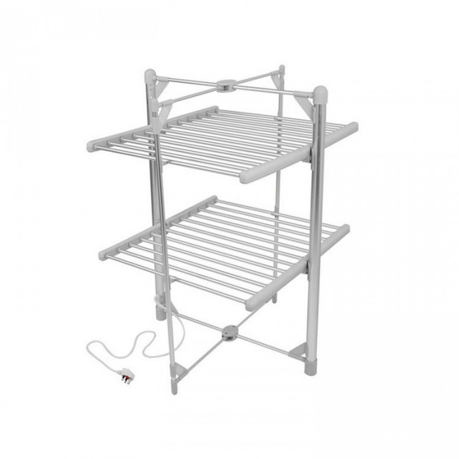 EV-200 Household Aluminum Grey Oxidized 2-Tier Heated Clothes Airer Folding Electric Clothes Dryer