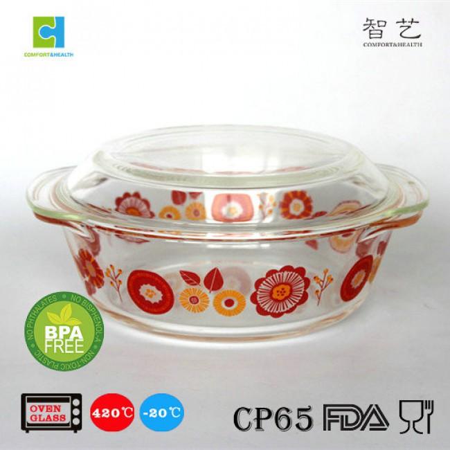 CHRC3 3pcs borosilicate glass oval casserole set 0.7L/1.0L/1.5L