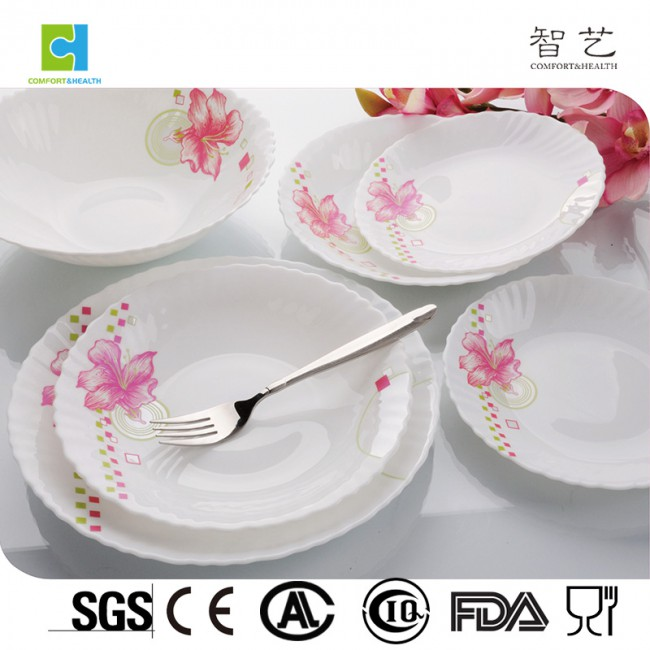 CH19B 19pcs spinning opal glass dinner set popular in Russia, Australia, Europe