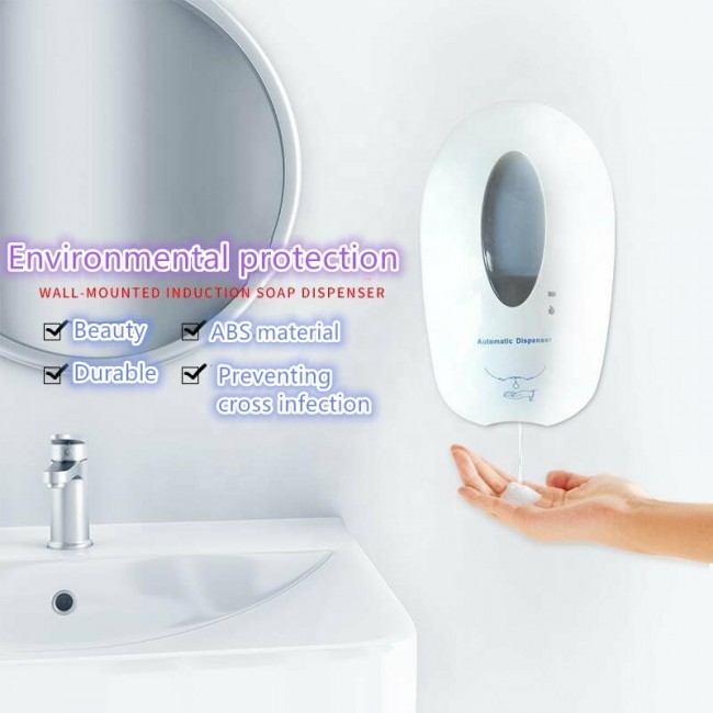 1000ML Hotel Touchless Automatic Free Hand Sanitizer Liquid Foam Soap Dispenser With Large Capacity Tank For School And Hospital