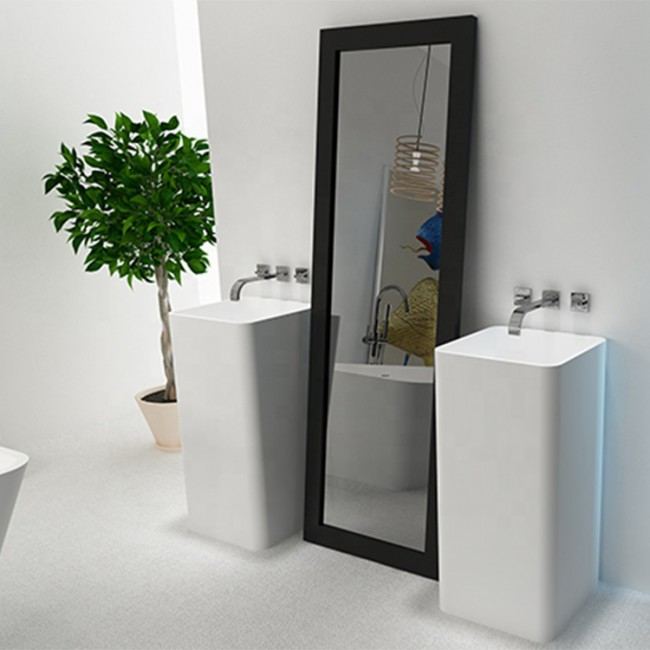 FW-6601 American quality pedestal bathroom sink artificial basin solid surface pedestal sink
