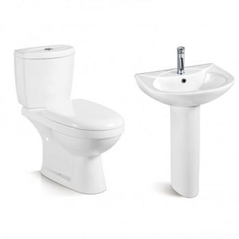 Sanitary wares ceramic water closet blue pink color wc toilets bowl pedestal basin set washdown two piece toilet