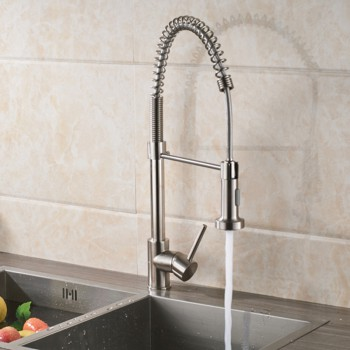 Brushed Nickel Kitchen Faucet Deck Mounted Mixer Tap 360 Degree Rotation Stream Sprayer Nozzle Kitchen Sink Hot And Cold Taps