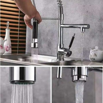 Chrome Polished Brass Bar Water Tap Sink Mixer Tap Spray Pull Down Kitchen Faucet