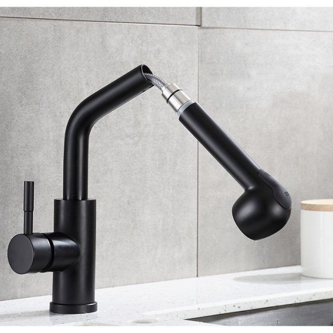 Modern Brushed Nickel Finish Pull Out Kitchen Sink Faucet Spray Mixer Taps