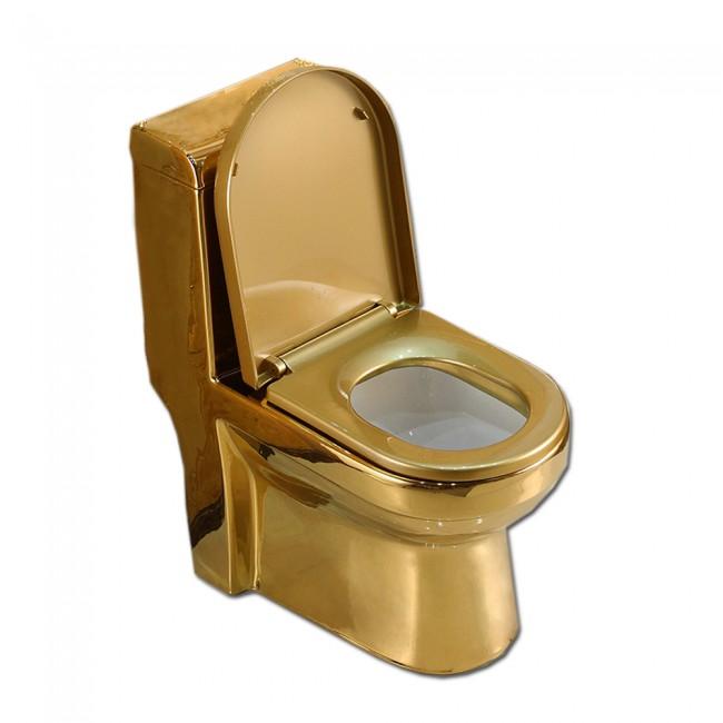 Bathroom golden sanitary wares one piece gold ceramic toilet wc