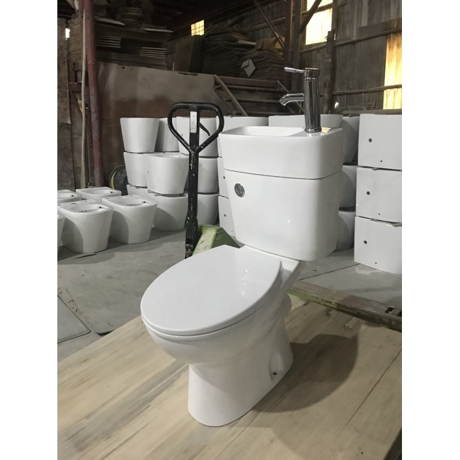 Ceramic washdown all in one 2 in 1 toilet and basin set combination