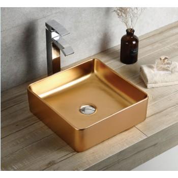 Luxury Bright Gold  Ceramic  Bathroom Wash Hand  Art  Basin For America 499-LG