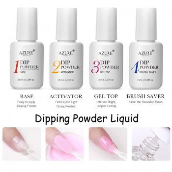 Azur Beauty 8 Pieces / Lot Soaking Powder Set Nails Art Brush Tools Manicure Tools Soak Off Base Top Coat Activator Brush Saver Kits