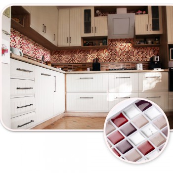 Vividtiles Self Adhesive Mosaic Tile Wall Decal Sticker DIY Kitchen Bathroom Home Decor Vinyl