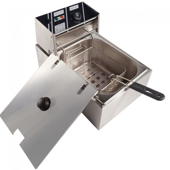 Household 10L Electric Deep Fryer Single Tank Fat Chips Stainless Steel Frying Machine Commercial Chicken French Fries 6L Oil