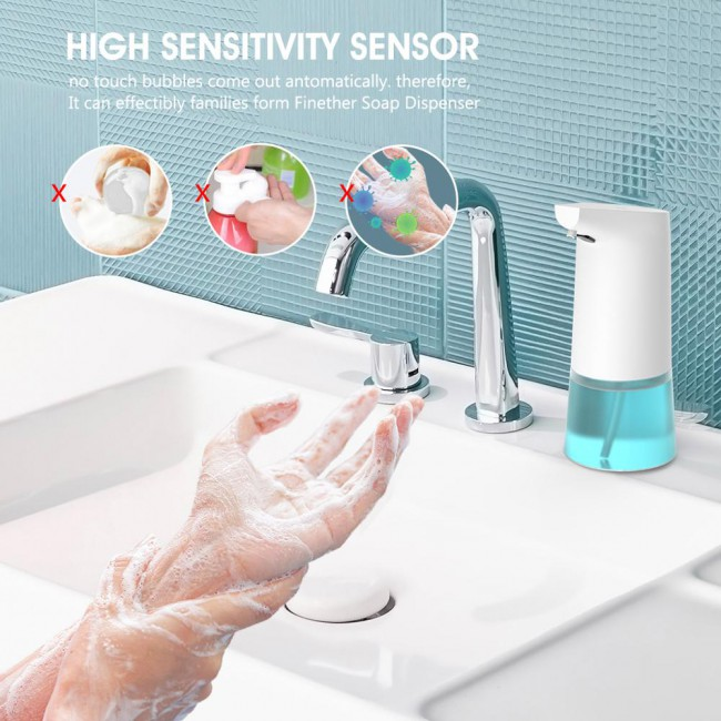 350ML Capacity Automatic Foam Soap Dispenser Touchless Foaming Infrared Motion Sensor Hands-Free Soap Pump For Bathroom Kitchen