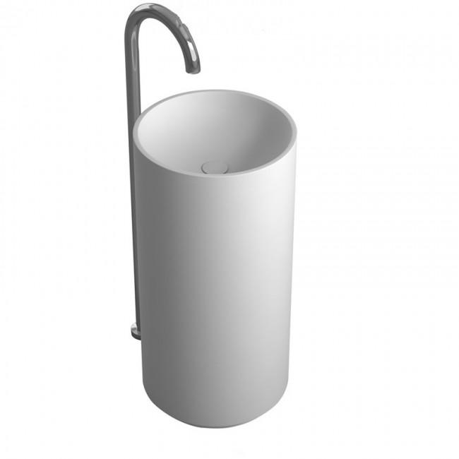 Corian Bathroom Pedestal Wash Basin Freestanding Solid Surface Matt Hand Sink Cloakroom Vanity Wash Sink