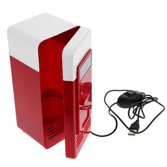 Desktop Mini Fridge USB Gadget Beverage Cans Cooler Warmer Refrigerator With Internal LED Light Car Use Mini Fridge