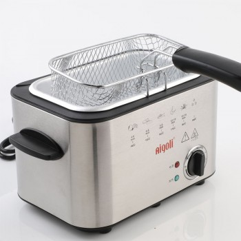 1.2L Stainless Steel Single Tank Electric Deep Fryer Smokeless French Fries Chicken Grill Multifunction MINI Hotpot Oven EU