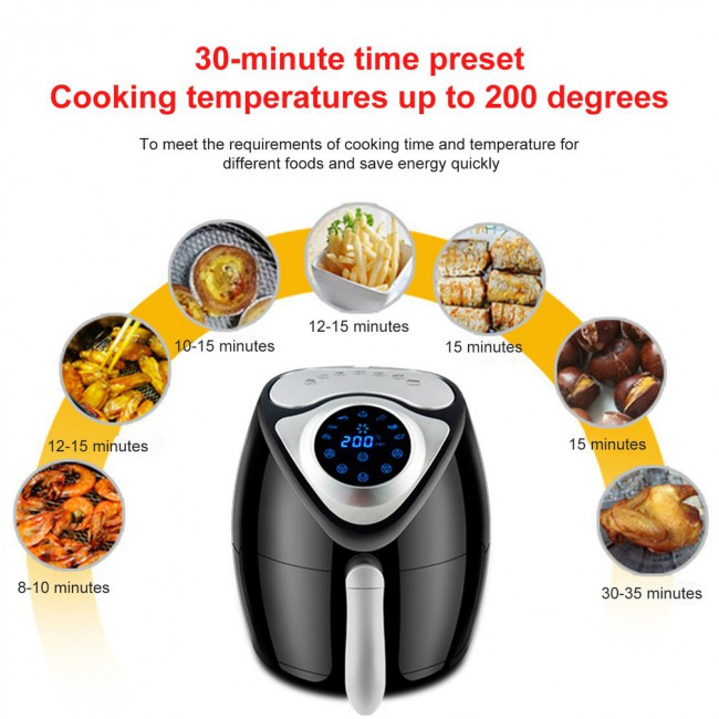 1300W/2.6L Air Fryer Large Capacity Air Fryer Household Smoke-Free Electric Frying Pan Smart Touch Screen Fries Machine