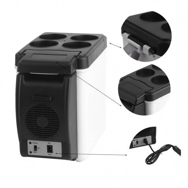 Camping home Mini Size 12V Car Small Refrigerator Mini Fridge Cooler & Warmer Enough Capacity 6L White No Need For Refrigerants