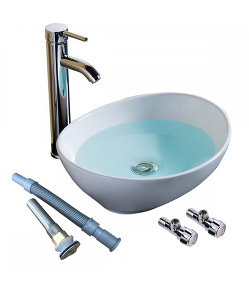 Bally 16 Inch Oval Bowl Ceramic Bathroom Vessel Vanity Sink White Artistic Basin Faucet Modern Style Wash Basin Bathroom Sink