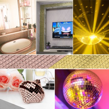 2 pcs Self-Adhesive Real Glass Mirror Mosaic Tiles Mini Square Round Glass Craft For DIY Handmade Crafts,Ball,Party Home Decor