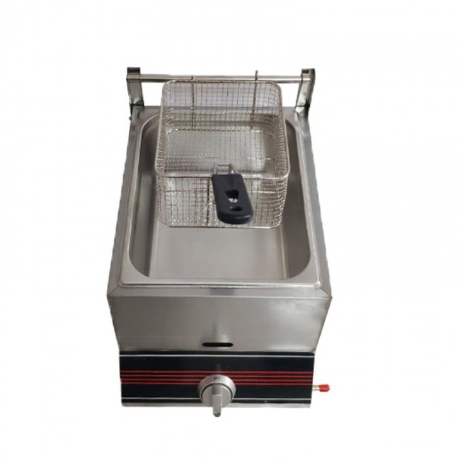 10L Single Cylinder Fryer Commercial Stainless Steel Gas Fried Multi-Function Oven French Fries Fried Chicken Deep Fryer