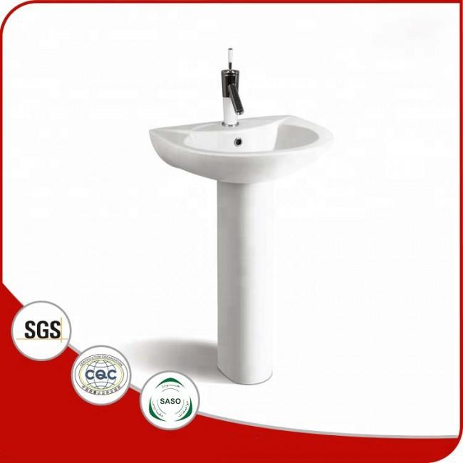 Export standard bathroom ceramic hand wash basin with pedestal
