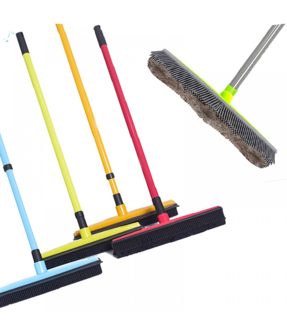 Adjustable Rubber Broom Hair Dust Scraper Pet Brush Carpet Cleaner  Sweeper Wash Mop Floor Telescopic Wipe Window Cleaner