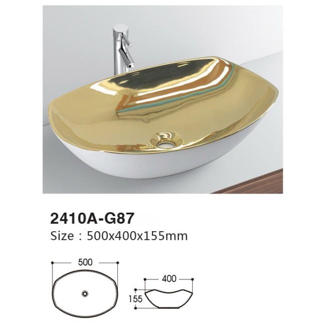 Made in China ceramic art basin modern design fancy basin sink countertop face wash basin with gold flower pattern