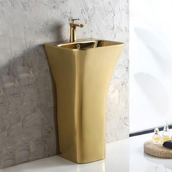 Gold-plated single hole rectangular ceramic sanitary ware wash stand cabinet basin pedestal sink