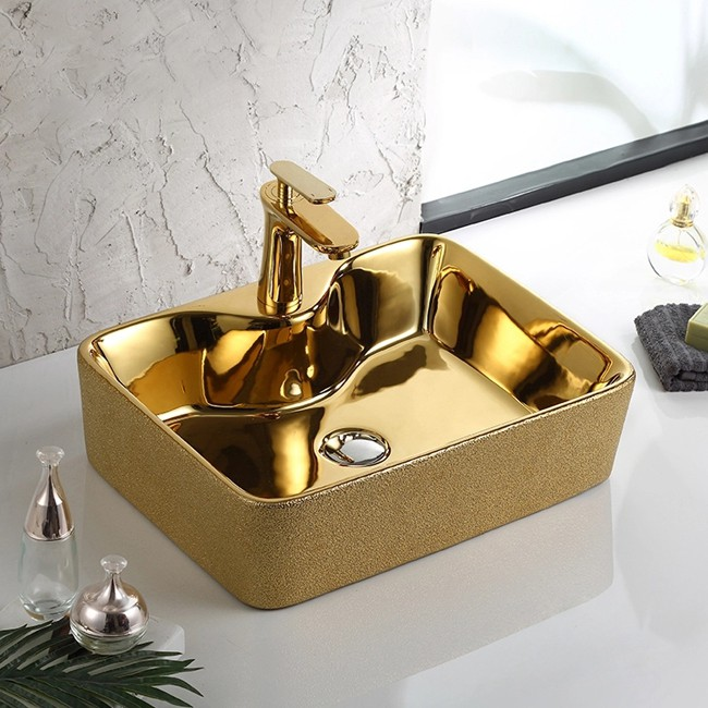 hand washing art sink gold colored countertop basin bathroom rectangular porcelain wash basin