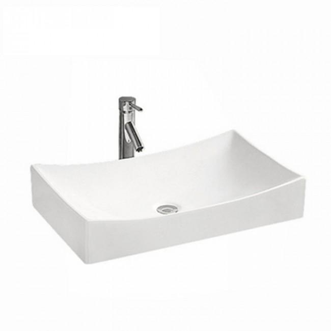 Low-key luxury modern rectangular thin white bathroom basin face ceramic art basin