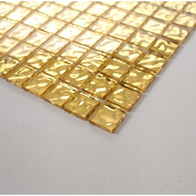 Premium Bottom Real Gold Leaf Glass Mosaic Tile 20x20mm Square Shape For Floor Decoration