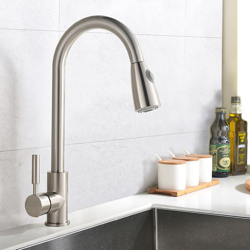 2018-New-Commercial-Brass-Single-Handle-Pull-Down-Sprayer-Kitchen-Faucet-Brushed-Nickel-360-Degree-Rotation-Mixer-Tap-Pieces