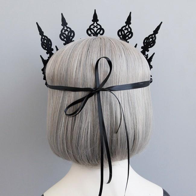 Black Flower Halloween Crown Party Hairband Gothic Wind Cosplay Headband Headwear Accessories