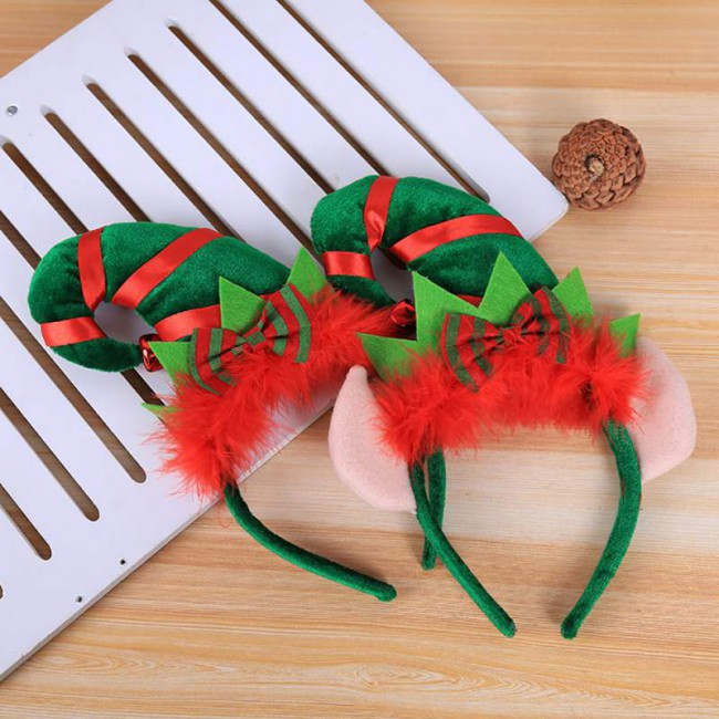 Christmas Hair Hoop Red Feather Elf Tip Hat Headband Elf Headband Party Fancy Dress Up Headwear