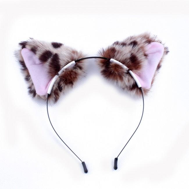 Cartoon Cosplay Anime Show Headband Plush Leopard Cat Fox Ears Fascinator Cute Women Girls Fanshion Hair Accessories