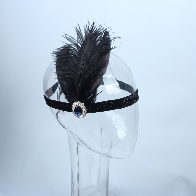 Hair Accessories Black Hair Band 1920s Vintage Flapper Fancy Dress Party Costume Headpiece Women Feather Headband Elastic