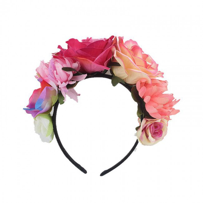 Women Day of The Dead Headband Artificial Contrast Color Rose Flower Crown with Fake Stamen Mexican Halloween Festival Headpiece