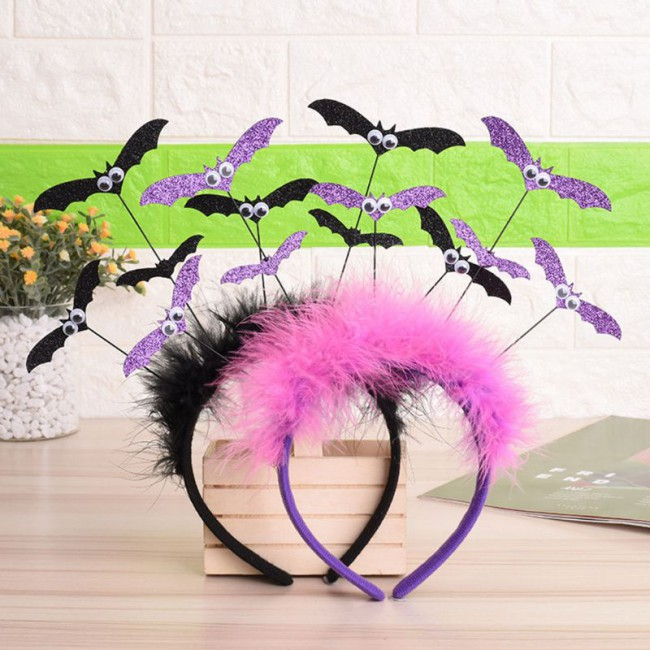 Halloween Glitter Bat Hair Hoop Headband Headdress for Women Girl Cosplay