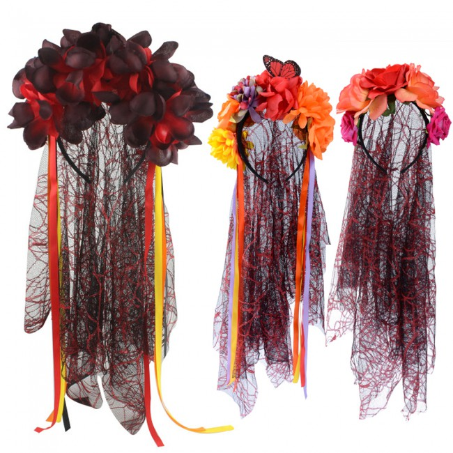 Fancy Rose Flower Lace Halloween Headband Festival Mesh Lace Hairband Headdress