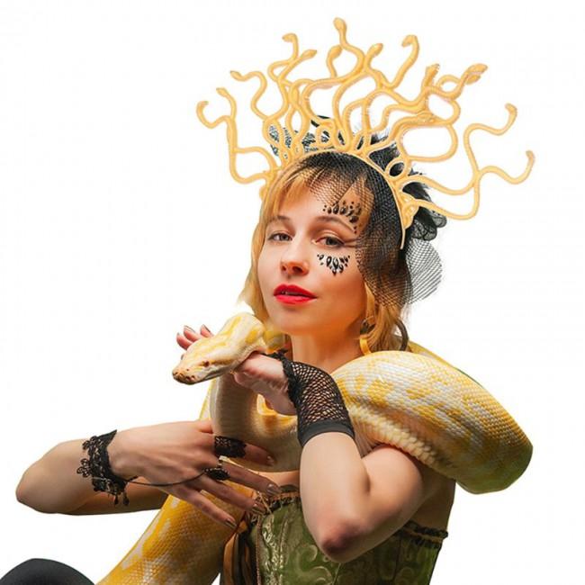 Halloween Medusa Snake Shape Hair Hoop Headband Headdress Women Cosplay Costume Party Accessories