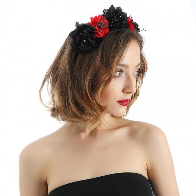 Women Hairband Halloween Simulated Flowers Headdress Creative Spider Hair Hoop Women Headdress
