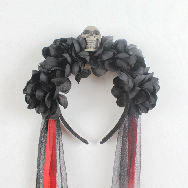 Red and black Halloween Party Headdress Simulate Flower Skull Headband for Women Handmade Hair Hoop Hair Accessories