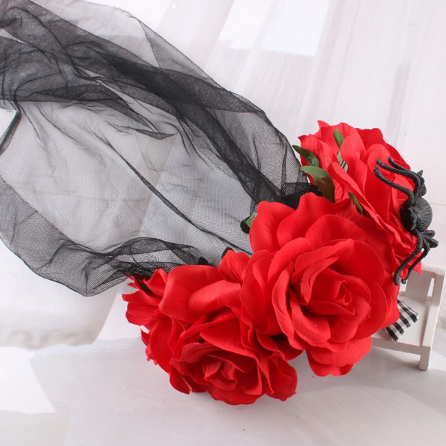 Female Headwear Rose With Flowers Lady Fancy Dress Halloween Hair Accessories Female Costume Headdress Party Props