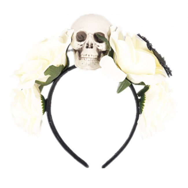 Halloween Rose Flower Skull Hair Hoop Headband Headdress Women Cosplay Costume