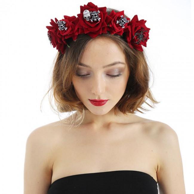 Fashion Floral Rose Headdress Hair Hoop Women Halloween Flower Skull Headband Velvet Bride Wreath Garland Wedding Party Headwear
