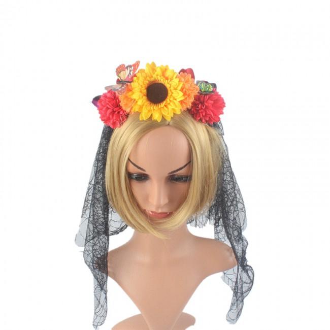 Rose Corolla Hair Band Wedding Headwear Wedding Halloween Headband Festival Headband Headdress
