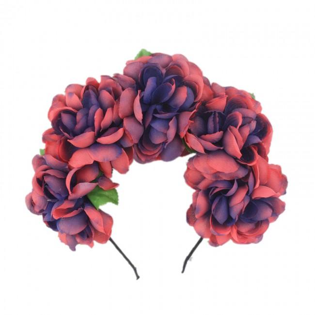 Portable Halloween Simulation Rose Flower Wreath Headband Stretch Hairband Bridal Headdress Halloween Party Accessories